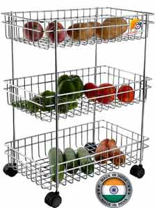 AMAZING MALL Stainless Steel 3 Layer Fruit and Vegetable Basket Stand