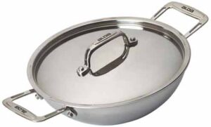 Alda Tri Ply Stainless Steel Wok Pan or Kadhai with Lid