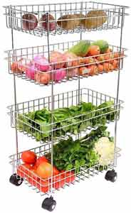 Kruvad 4 Layer Trolley Portable Modern Storage Rack Design 4-Tier Fruits & Vegetable
