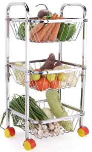 LiMETRO STEEL Stainless Steel 3 Layer Fruit and Vegetable Kitchen Trolley