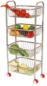 Parasnath Mirror Finish 4 Shelf Square Vegetable and Fruit Trolley, 4 Stand