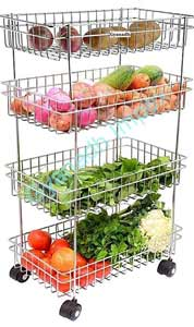 Stainless Steel 4 Layer Trolley for Fruits & Vegetable Onion Cutlery