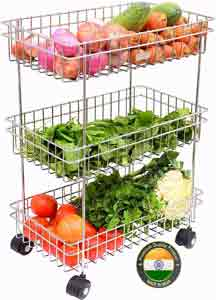 Swadhin 3 Layer Fruit and Vegetable Stand-Basket-Trolley Modern Kitchen Storage Rack