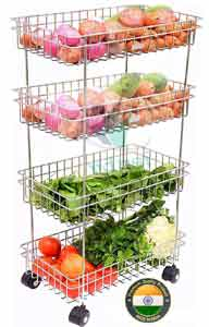 Swadhin Stainless Steel 4-Tier Fruits & Vegetable Onion Trolley Container Basket