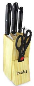 Familia KS-5 Stainless Steel Kitchen Knife Set with Wooden Block